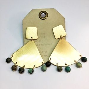 NWT Anthropologie Gold Fan Drop Earrings
